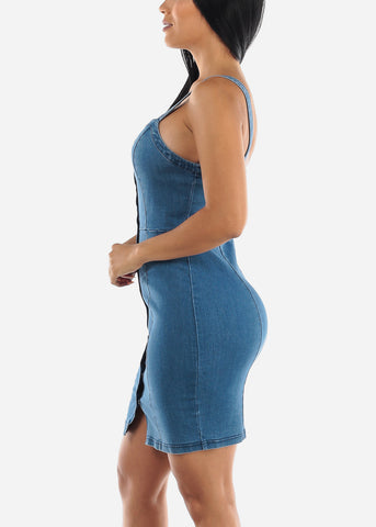Image of Snap Button Denim Mini Dress