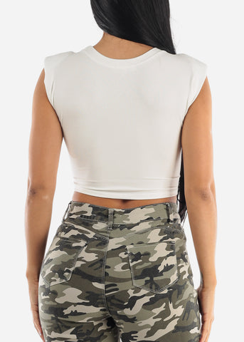 Image of White Shoulder Pad Crop Top
