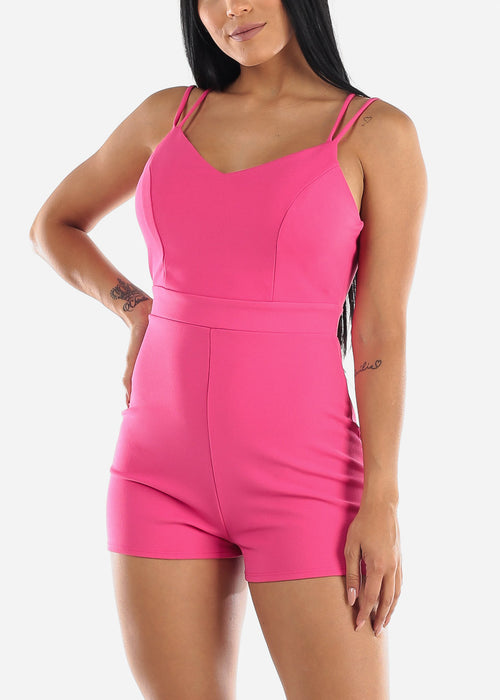 Crisscross Back Hot Pink Romper