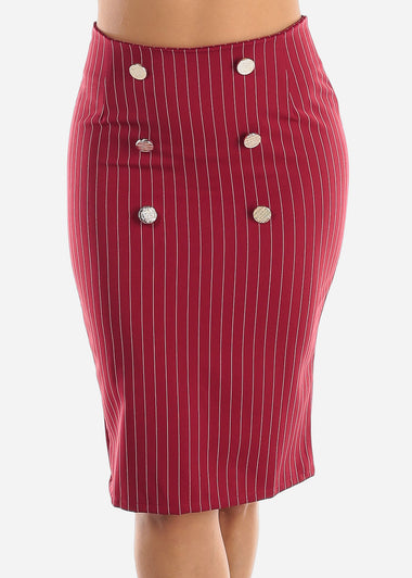 Red Stripe Pencil Midi Skirt