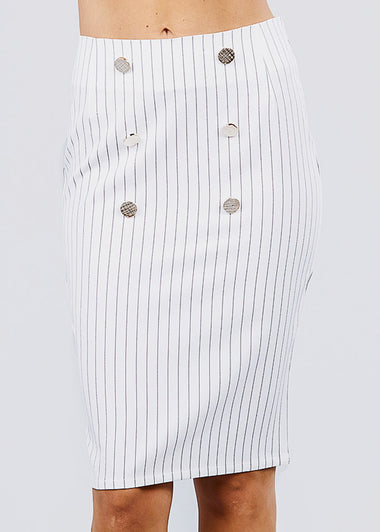 White Stripe Pencil Midi Skirt