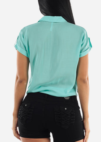 Mint Tie Knot Button Up Top