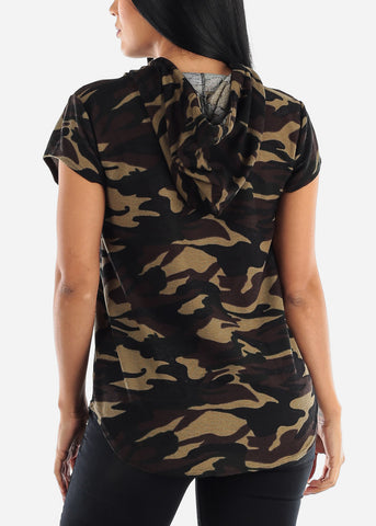 Image of Short Sleeve Camo Tunic Top
