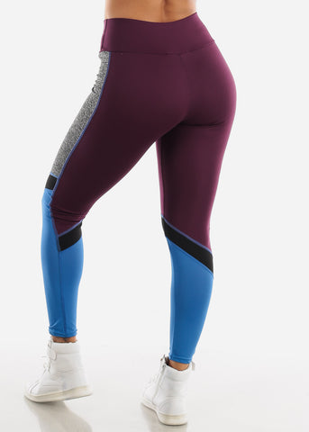 Image of Activewear Purple Colorblock Leggings