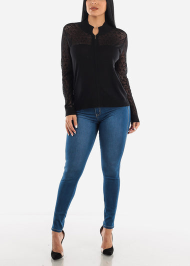 Black Lace Sleeves Zip Up Top J3451BLK
