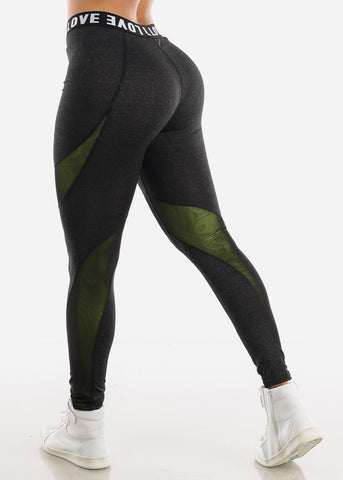 "Image of Activewear High Rise Charcoal Leggings ""Love"""