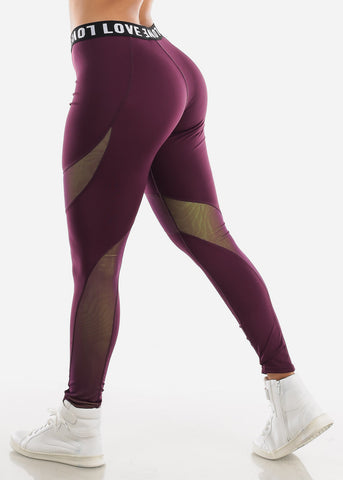 "Image of Activewear High Rise Purple Leggings ""Love"""