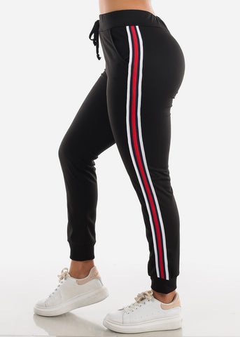 Stripe Sides Black High Waisted Jogger Pants
