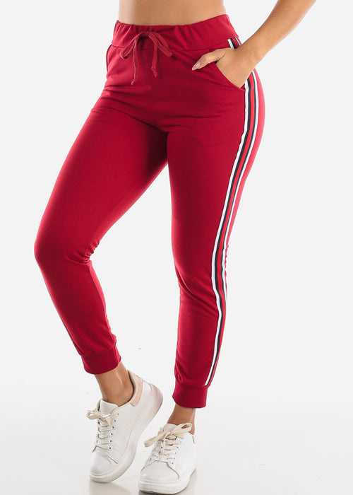 Stripe Sides Red High Waisted Jogger Pants