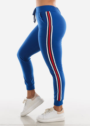 Stripe Sides Blue High Waisted Jogger Pants