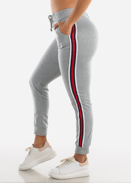 Stripe Sides Grey High Waisted Jogger Pants