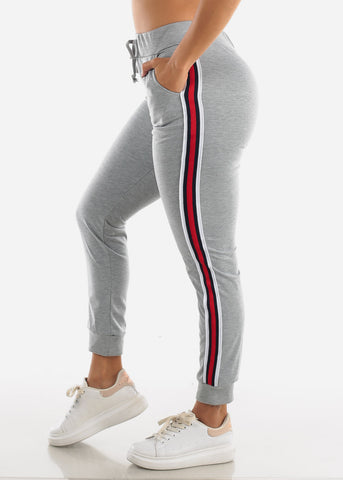 Image of Stripe Sides Grey High Waisted Jogger Pants