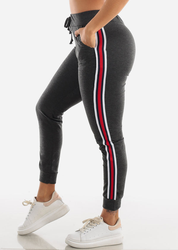 Stripe Sides Charcoal High Waisted Jogger Pants