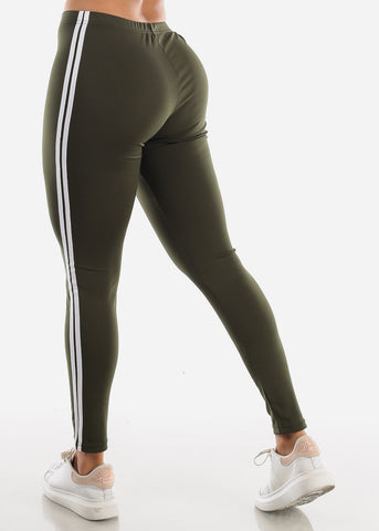 Image of Activewear Stripe Sides Olive Leggings