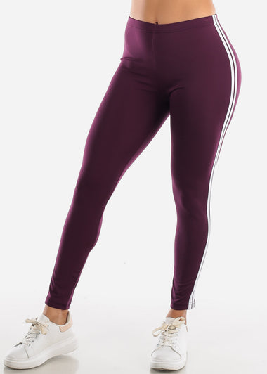 Activewear Stripe Sides Purple Leggings