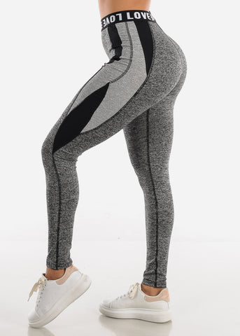 "Image of Activewear Grey Leggings ""Love"""