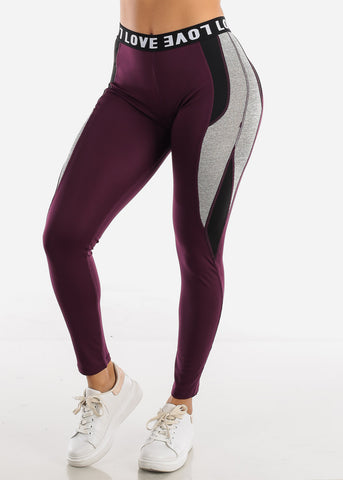 "Image of Activewear Purple Leggings ""Love"""