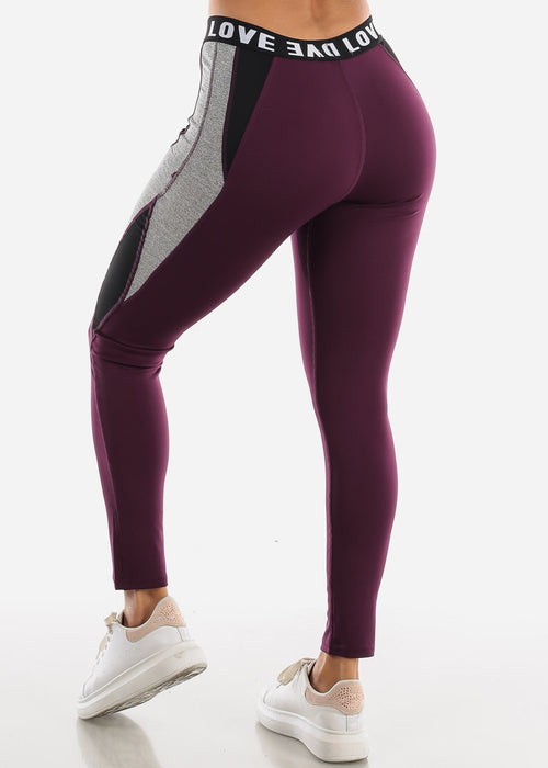 "Activewear Purple Leggings ""Love"""