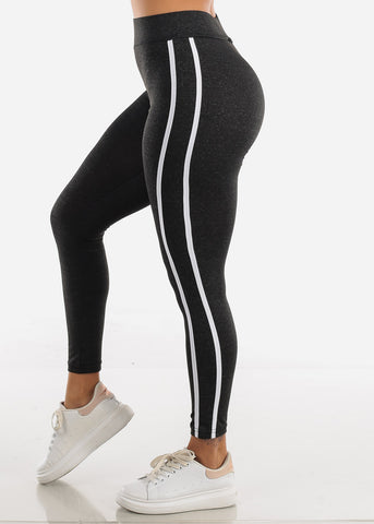 Image of Activewear Charcoal Stripe Sides Leggings
