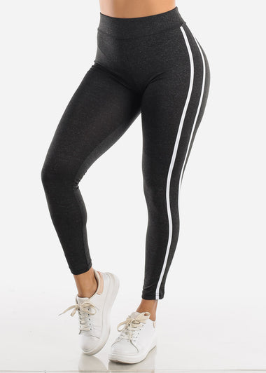 Activewear Charcoal Stripe Sides Leggings