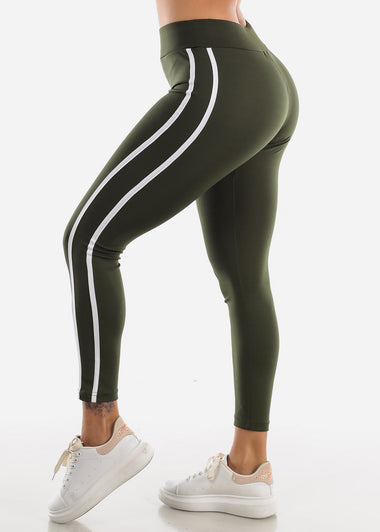 Activewear Olive Stripe Sides Leggings