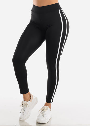 Activewear Black Stripe Sides Leggings