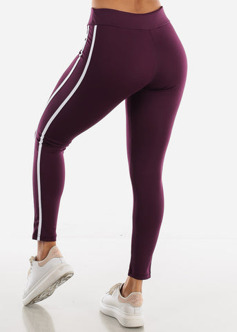 Image of Activewear Purple Stripe Sides Leggings
