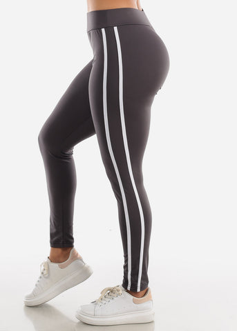 Activewear Dark Grey Stripe Sides Leggings