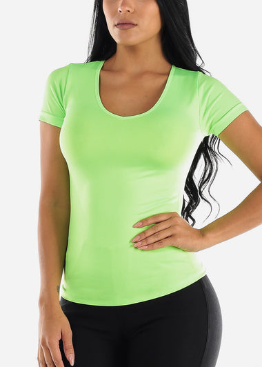 One Size Neon Green V Neck Top