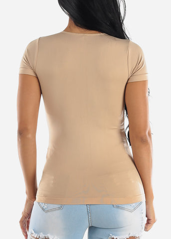 One Size Khaki V Neck Top