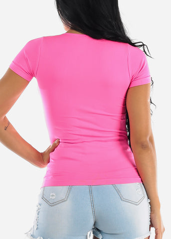 One Size Fuchsia V Neck Top