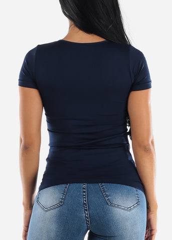 Image of One Size Navy V Neck Top