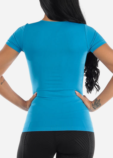 One Size Short Sleeve Top (Turquoise)
