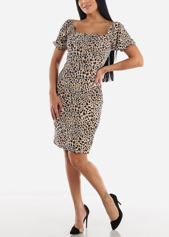 Image of Short Sleeve Leopard Dress