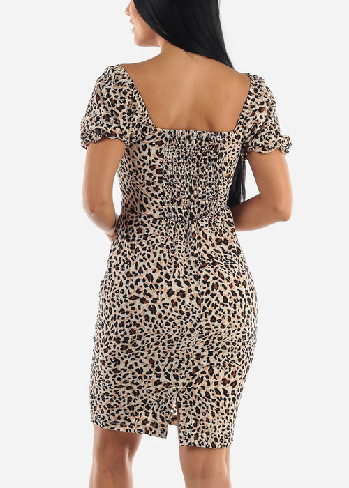 Short Sleeve Leopard Dress