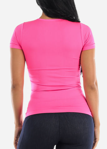 One Size Short Sleeve Top (Fuchsia)