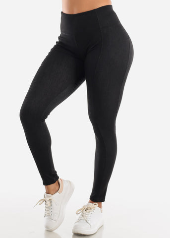 Image of Activewear Pull On Black Leggings