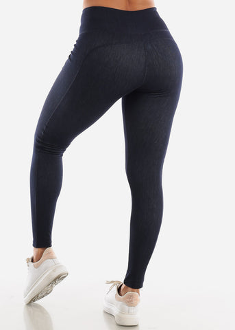 Activewear Pull On Navy Leggings