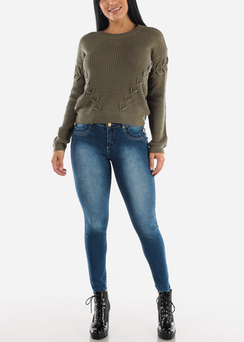 Image of Long Sleeve Knitted Olive Sweater