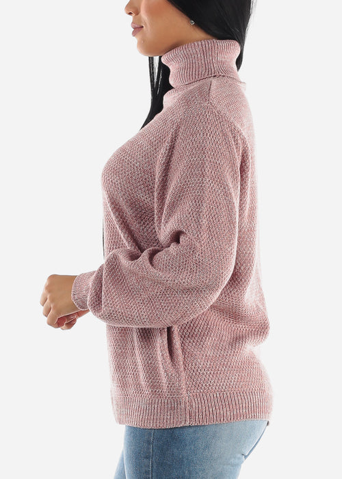 Light Rose Turtle Neck Knit Sweater