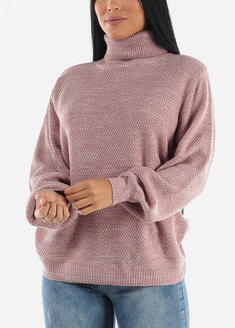 Image of Light Rose Turtle Neck Knit Sweater