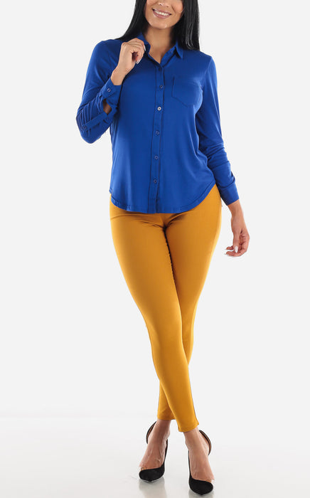 Royal Blue Casual Button Up Top