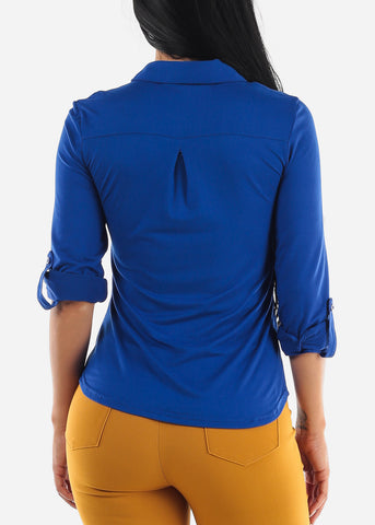 Image of Royal Blue Casual Button Up Top