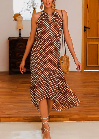 Image of Tie Neckline Coffee Polka Dot Dress
