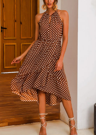 Tie Neckline Coffee Polka Dot Dress