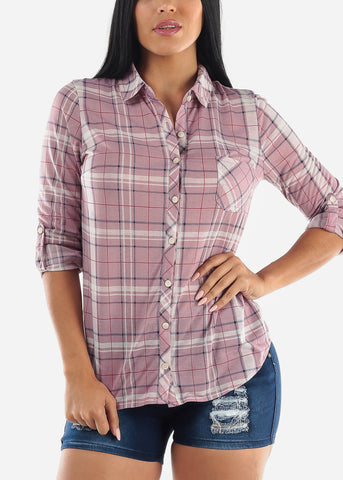 Lavander & Navy Plaid Top