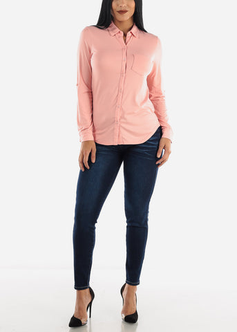 Pink Casual Button Up Top
