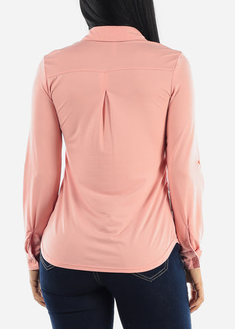 Image of Pink Casual Button Up Top