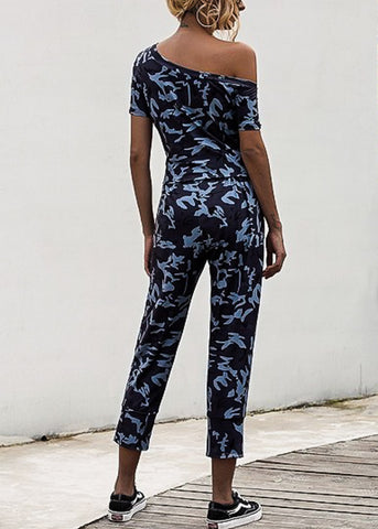 Off Shoulder Camouflage Jumpsuit