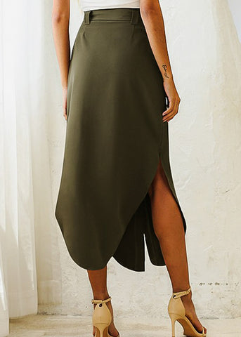 Button Front Olive Maxi Skirt